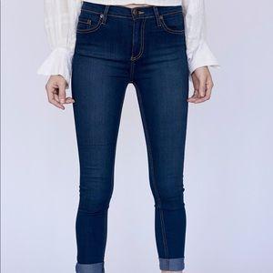 Free People Dark Wash Mid Rise Skinny Jeans